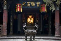 Tempiale Sichuan Cina del POT di incenso della statua del Liu Bei Immagini Stock
