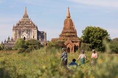Tempie antiche di Buddha in Bagan, Myanmar (Birmania fotografia stock