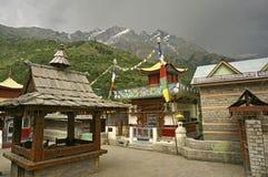 Tempie buddisti ed indù antiche nella regione ad alta altitudine in Himalaya Fotografia Stock Libera da Diritti