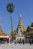 Tempie della pagoda di Shwedagon - Rangoon - Myanmar Immagine Stock