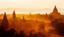 Tempie di bagan al tramonto, Birmania (myanmar) Fotografia Stock