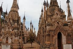 Tempie di Kakku, Myanmar Fotografia Stock Libera da Diritti