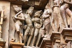 Tempie di Khajuraho e le loro sculture erotiche, India Fotografia Stock