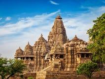 Tempie famose di Khajuraho Fotografie Stock Libere da Diritti