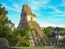 Tempie maya della plaza di gran o di sindaco della plaza alla pari nazionale tikal immagine stock libera da diritti