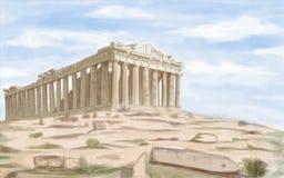 Tempio antico del Partenone di Atene Immagine Stock Libera da Diritti