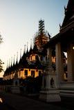 Tempio Bangkok di Lohaprasart del paesaggio di vista di notte immagini stock libere da diritti