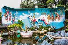 Tempio birmano di Dhamikarama a Penang, Malesia immagine stock libera da diritti