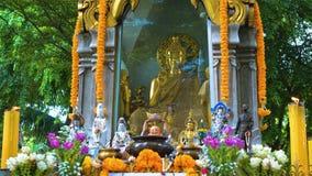 Tempio Buddha sotto gli alberi Buddismo in Asia Candele e fiori posto di culto religioso dei credenti archivi video