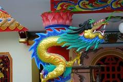 Tempio cinese del cinese della statua del drago Immagini Stock Libere da Diritti