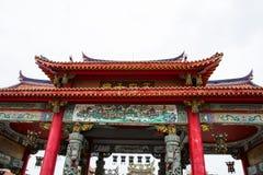 Tempio cinese rosso del tetto Fotografia Stock