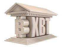 Tempio 3D del segno di valuta di Bitcoin XBT Fotografia Stock