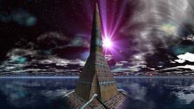 Tempio degli stranieri e del UFO illustrazione di stock