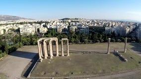 Tempio del punto di vista di Zeus Aerial di olimpionico video d archivio