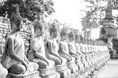 Tempio della foto di B/W a Ayutthaya, Tailandia fotografia stock libera da diritti