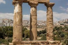 Tempio della macchina per colata continua e di Pollux, Agrigento, Sicilia Immagini Stock Libere da Diritti