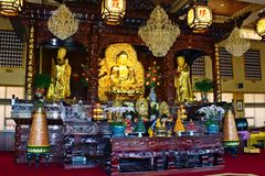 Tempio della montagna di Lingyen, dentro Fotografia Stock