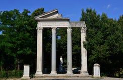 Tempio di Antonino e Faustina. Part of a temple in Villa Borghese park in Rome Stock Images