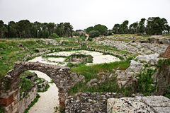 Tempio di Apollo. The remains of the old ancient temple Tempio di Apollo - Syracuse, Sicily, Italy Stock Photography