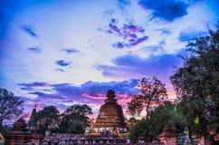 Tempio di Ayutthaya da penombra Fotografia Stock Libera da Diritti