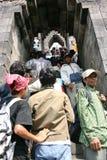 Tempio di Borobudur e l'attività Fotografie Stock Libere da Diritti