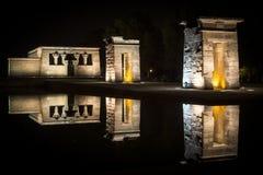 Tempio di Debod alla notte Fotografia Stock Libera da Diritti