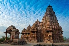 Tempio di Kandariya Mahadeva, Khajuraho, India, sito di eredità dell'Unesco Fotografia Stock Libera da Diritti