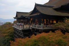 Tempio di Kiyomizu-dera con il fogliame di autunno, Kyoto Fotografia Stock Libera da Diritti