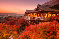 Tempio di Kiyomizu di Kyoto, Giappone immagini stock libere da diritti