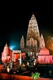Tempio di Mahabodhi alla notte Fotografia Stock