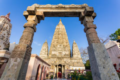 Tempio di Mahabodhi, gaya di fico delle indie orientali, India Fotografia Stock