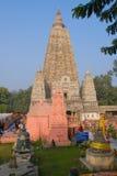 Tempio di Mahabodhi, gaya di fico delle indie orientali, India Il sito dove Gautam Buddha Fotografie Stock Libere da Diritti
