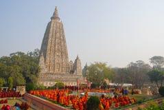 Tempio di Mahabodhi, gaya di fico delle indie orientali, India Il sito dove Gautam Buddha Fotografia Stock