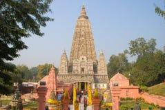Tempio di Mahabodhi, gaya di fico delle indie orientali, India Il sito dove Gautam Buddha Fotografia Stock Libera da Diritti