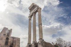 Tempio di Pollux in Roman Forum immagini stock