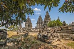 Tempio di Prambanan sull'isola di Java, Indonesia fotografie stock