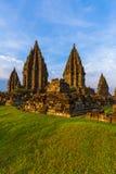Tempio di Prambanan vicino a Yogyakarta sull'isola di Java - Indonesia Fotografia Stock Libera da Diritti