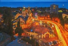 Tempio di principe Vladimir sulla notte di Natale Sochi, Russia Immagini Stock Libere da Diritti