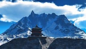 Tempio di Sun - santuario buddista nella rappresentazione dell'Himalaya 3d Fotografie Stock Libere da Diritti