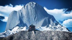 Tempio di Sun - santuario buddista nella rappresentazione dell'Himalaya 3d Fotografie Stock