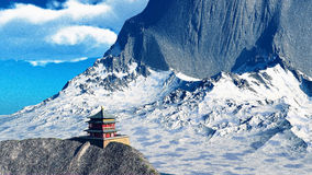 Tempio di Sun - santuario buddista nella rappresentazione dell'Himalaya 3d Fotografia Stock Libera da Diritti