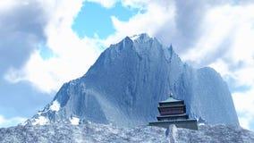 Tempio di Sun - santuario buddista nella rappresentazione dell'Himalaya 3d Fotografia Stock