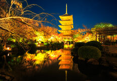 Tempio di Toji di notte, Kyoto Giappone Immagini Stock