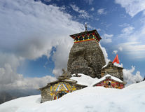 Tempio di Tungnath Shiva su un fondo delle nuvole Fotografie Stock Libere da Diritti
