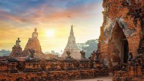 Tempio di Wat Chaiwatthanaram nel parco storico di Ayuthaya, Tailandia Fotografie Stock Libere da Diritti