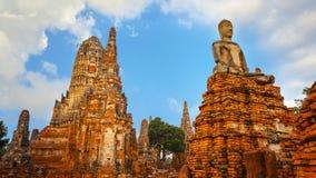 Tempio di Wat Chaiwatthanaram nel parco storico di Ayuthaya, Tailandia Immagini Stock Libere da Diritti