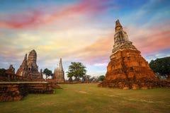 Tempio di Wat Chaiwatthanaram nel parco storico di Ayuthaya, un sito del patrimonio mondiale dell'Unesco Fotografie Stock Libere da Diritti