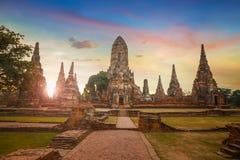Tempio di Wat Chaiwatthanaram nel parco storico di Ayuthaya, un sito del patrimonio mondiale dell'Unesco Fotografia Stock Libera da Diritti