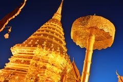 Tempio di Wat Phra That Doi Suthep in Chiang Mai Province, Tailandia Fotografie Stock