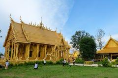 Tempio dorato della pittura, Wat Pak Nam Jolo, colpo Khla, Chachoengsao Tailandia Fotografie Stock Libere da Diritti